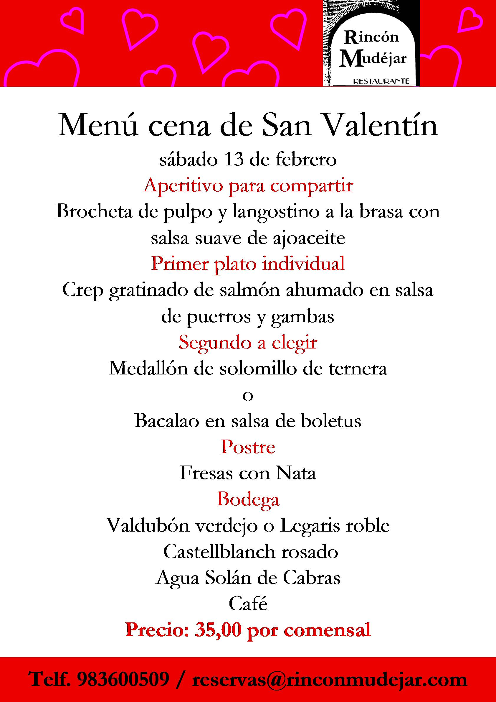 Menú cena de San Valentín 2016